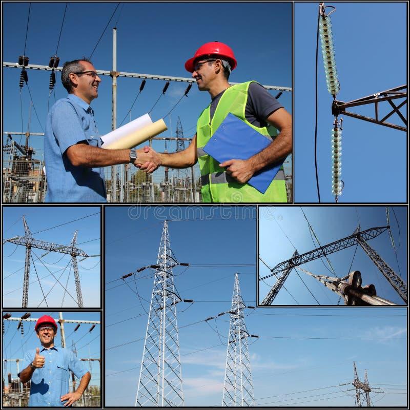 Distribution de l'électricité - collage photo stock