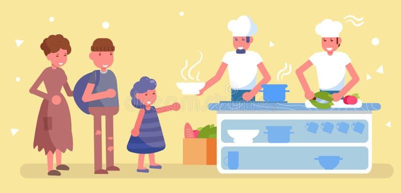 Distribution de nourriture Vecteur de charité cartoon Art d'isolement illustration libre de droits