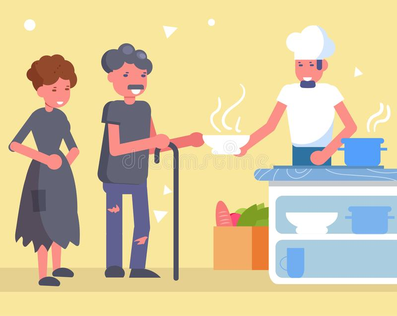 Distribution de nourriture Vecteur de charit? cartoon Art d'isolement illustration stock