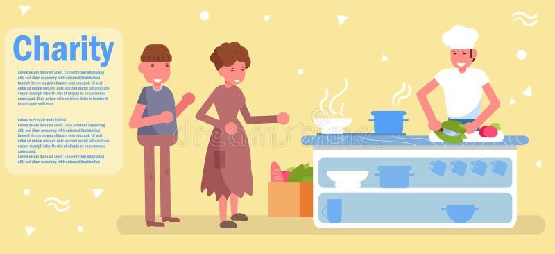 Distribution de nourriture Vecteur de charit? cartoon Art d'isolement illustration de vecteur