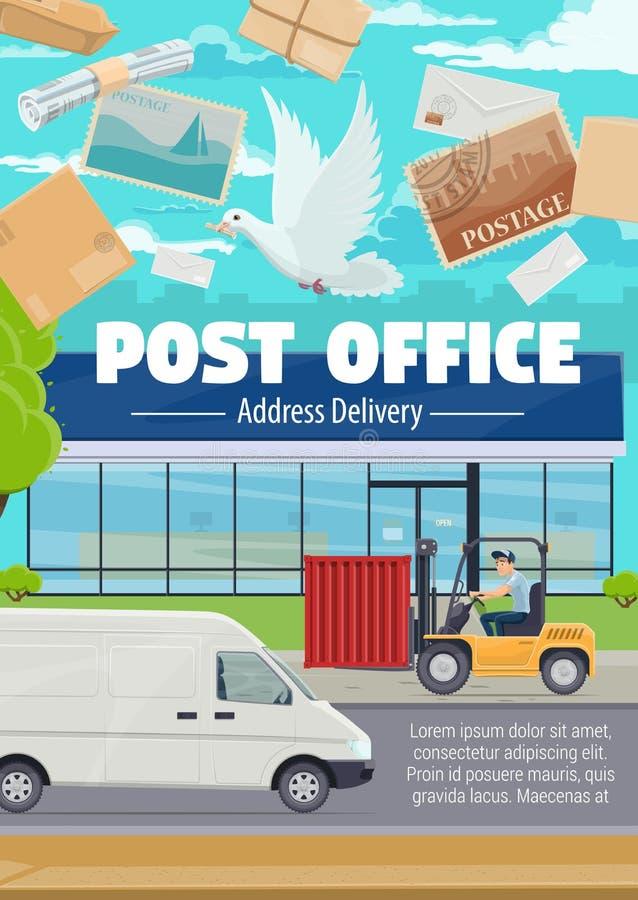 Distribution du courrier de bureau de poste et de correspondance illustration de vecteur
