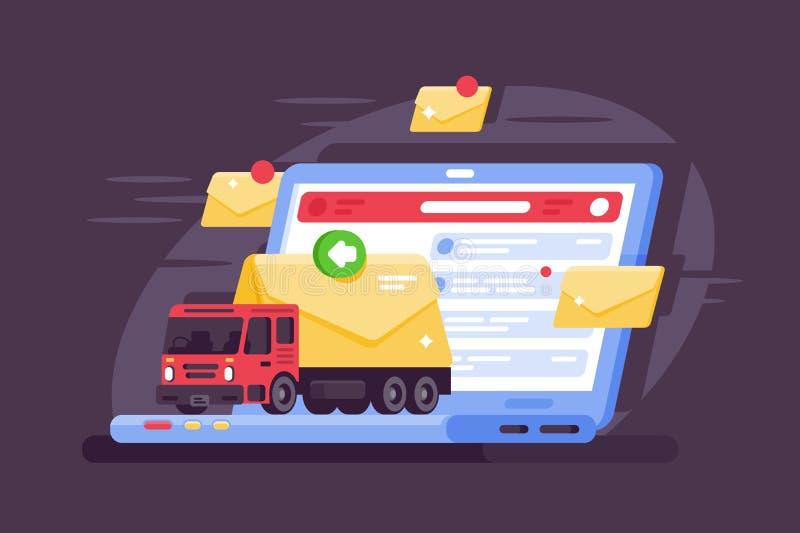 Distribution du courrier moderne et ultra-rapide utilisant l'Internet illustration libre de droits