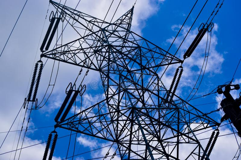 Distribution electric substation with power lines and transformers royalty free stock images