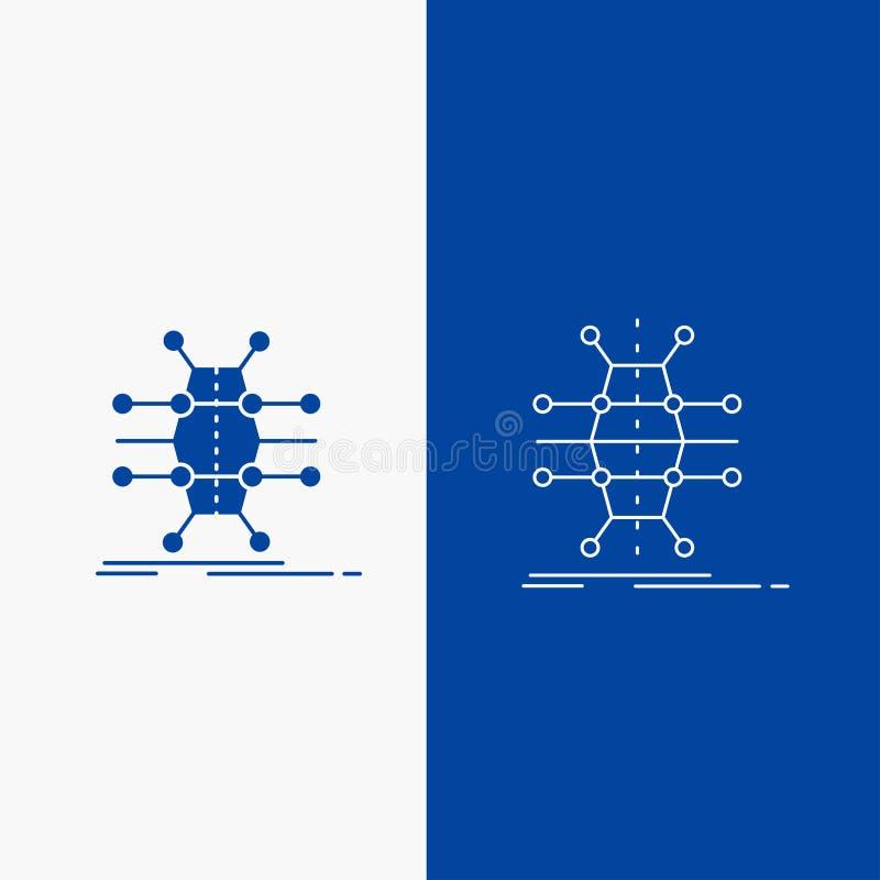 Distribution, grille, infrastructure, réseau, bouton de Web futé de ligne et de Glyph dans la bannière verticale de couleur bleue illustration libre de droits