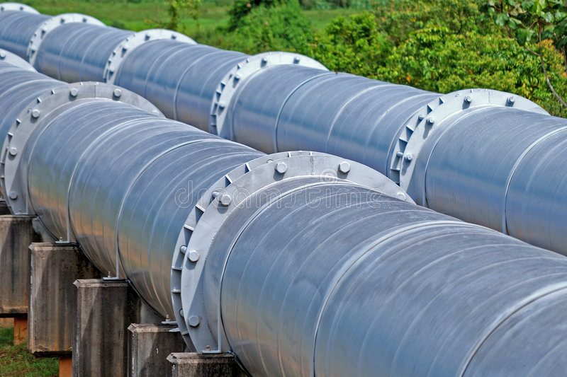 Distribution pipes. A twin distribution pipes moving from right to left royalty free stock photos