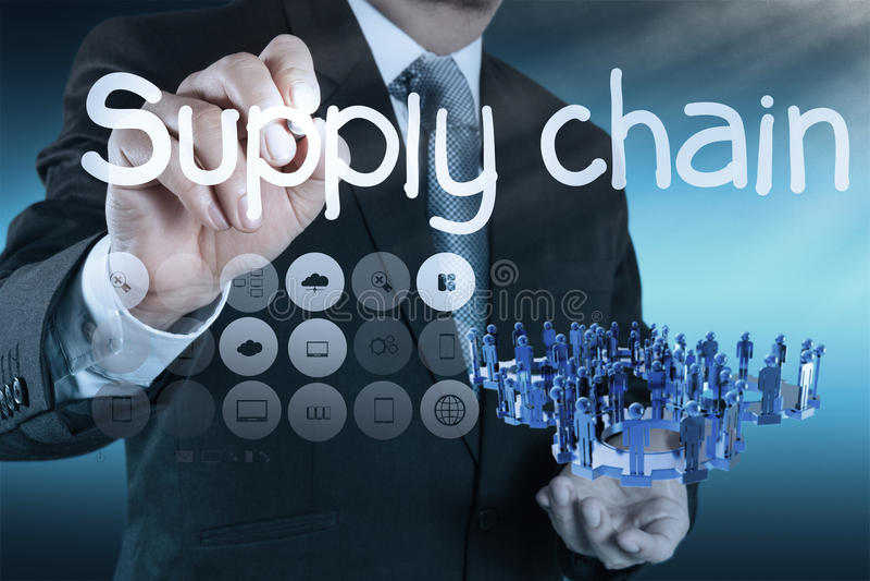 Distributionskedjaledningbegrepp vid flöde från leverantör till custume arkivfoton