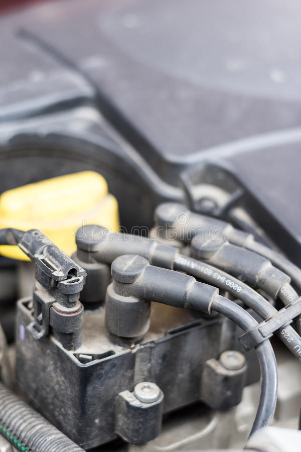 Distributor cap with blurred background stock photo