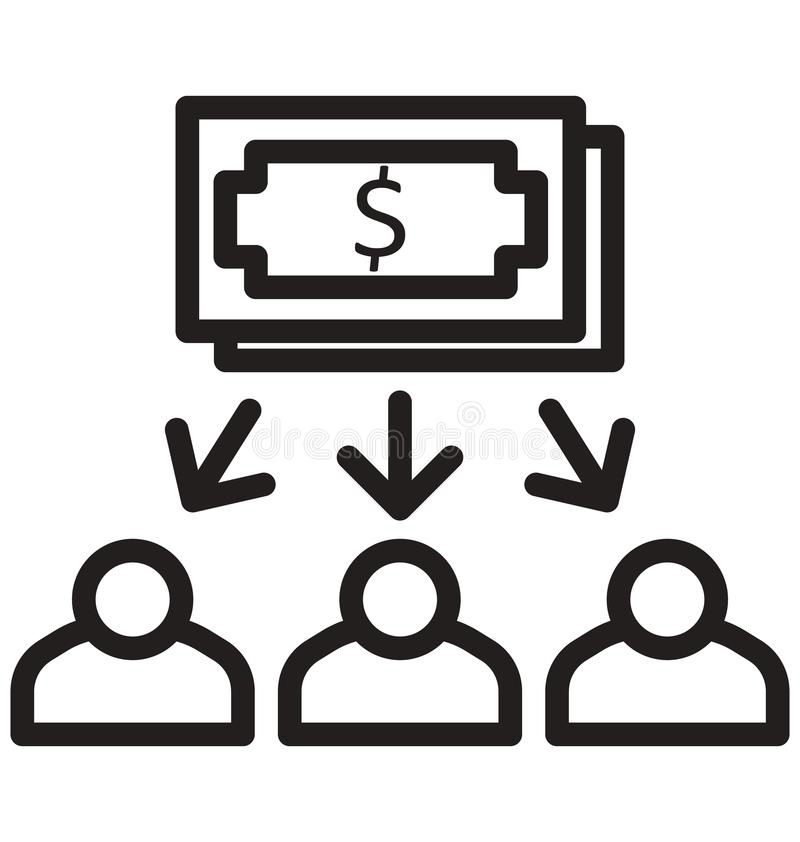 Distribuya el dinero, contribuya, la línea icono aislado del dólar puede ser modificada y corregir fácilmente ilustración del vector