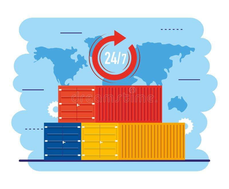 Distribuzione dei contenitori con servizio di distribuzione nella mappa globale illustrazione vettoriale