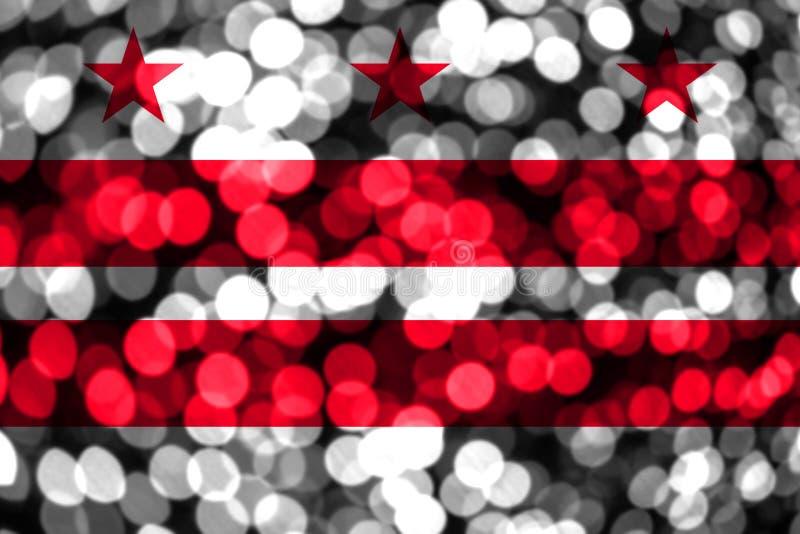 District abstracte onscherpe bokehvlag van van Colombia, Washington Kerstmis, Nieuwjaar en de Nationale vlag van het dagconcept V vector illustratie