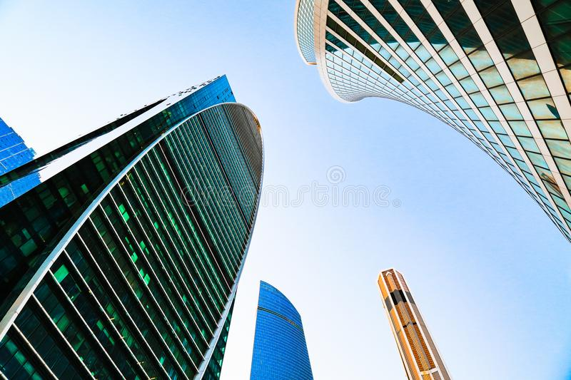 District of business centers. Glass skyscrapers facade. Moscow city, Russia. Street exterior. Modern office building. Urban view. stock image