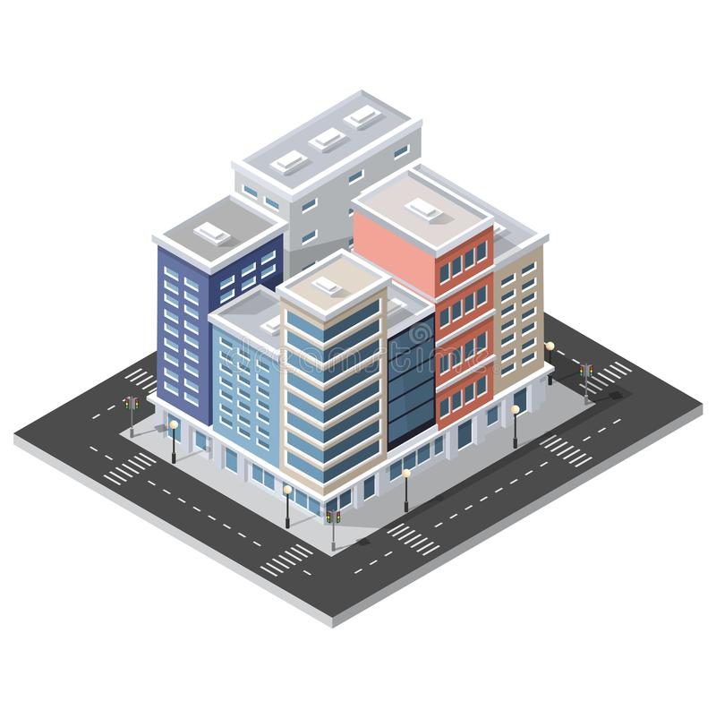 District of the city street houses stock illustration