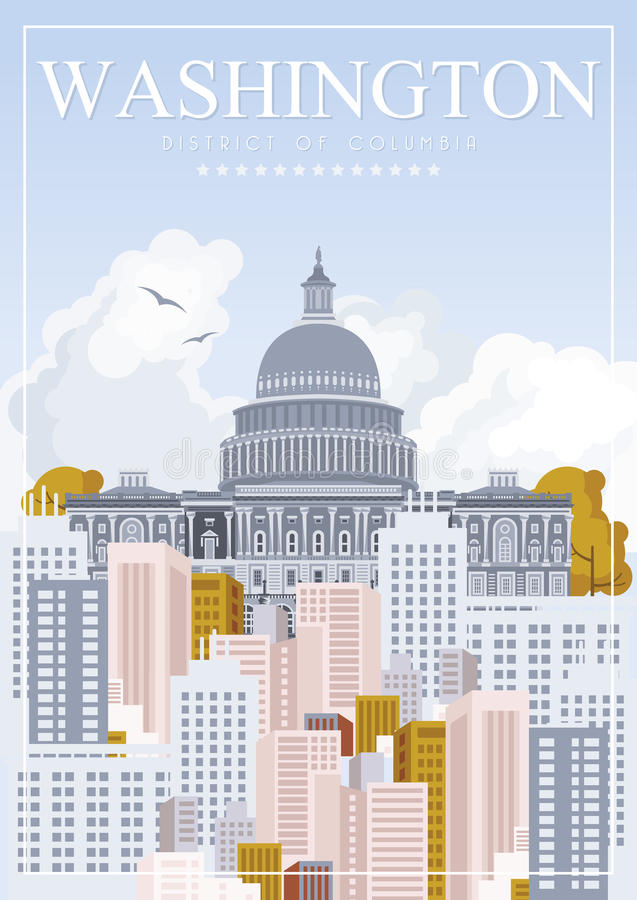 District of Columbia vector poster. USA travel illustration. United States of America colorful greeting card. Washington stock illustration