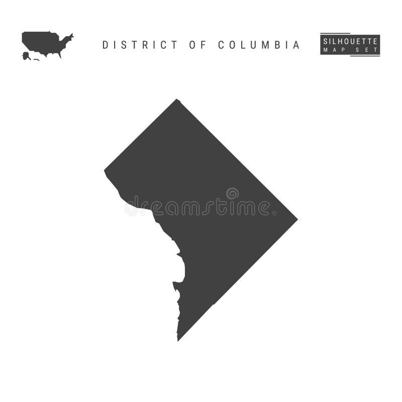 District of Columbiavektoröversikt som isoleras på vit bakgrund Hög-specificerad svart konturöversikt av Washington, D C stock illustrationer