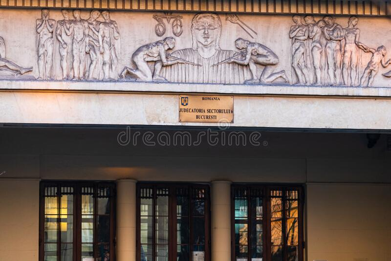 District 6 Courthouse of Bucharest Judecatoria Sector 6 Bucuresti, Roemenië, 2020 stock afbeelding