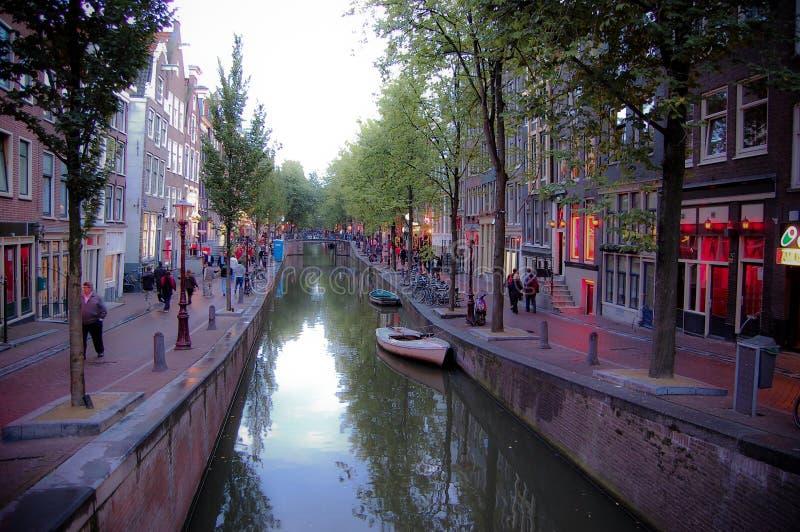 district d'Amsterdam rouge-clair images libres de droits