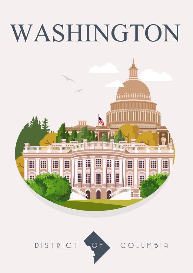 District de Columbia l'affiche de vecteur Illustration de voyage des Etats-Unis Carte colorée des Etats-Unis d'Amérique washingto illustration libre de droits