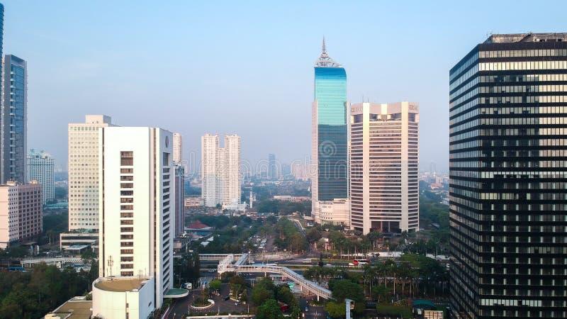 District des affaires commercial dans le paysage urbain images libres de droits