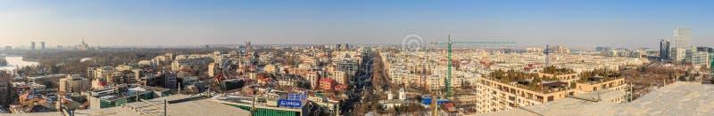 District 17 februari 2017 van Boekarest Aviatiei - luchtpanorama stock afbeelding