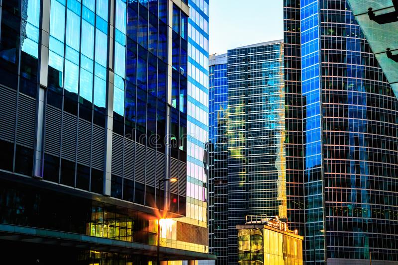 District of glass business centers. Modern skyscrapers. stock photos