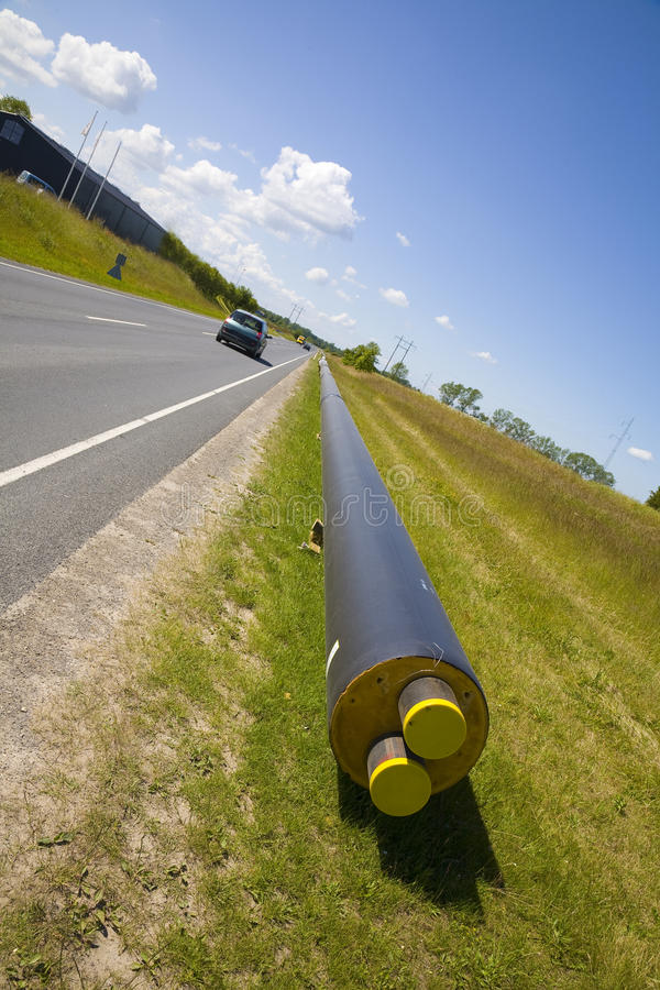 District heating. New pipes for district heating stock photography