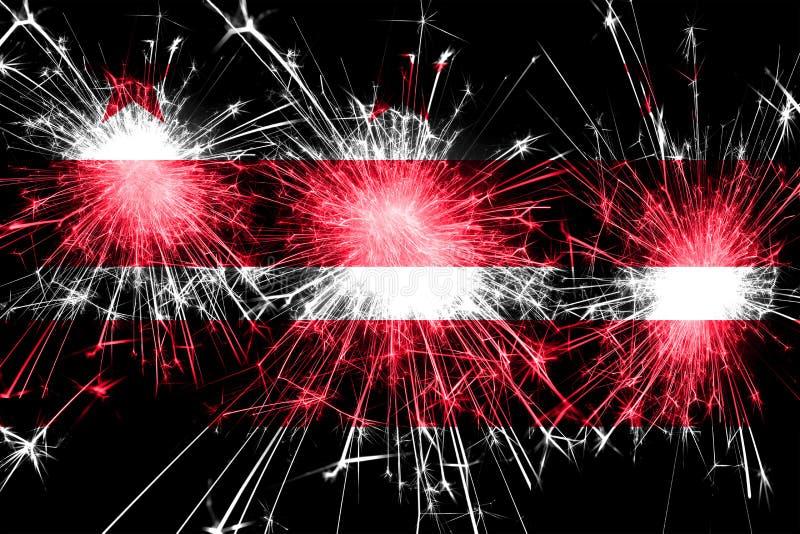 District het vuurwerk fonkelende vlag van van Colombia, Washington Nieuwjaar, Kerstmis en Nationaal dagconcept De Verenigde State royalty-vrije illustratie