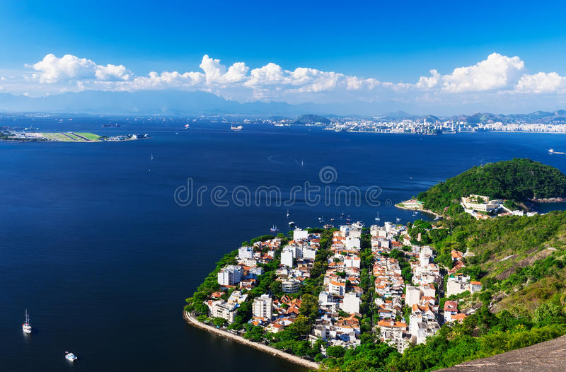 District Urca and Sugar Loaf in Rio de Janeiro. Brazil royalty free stock photo
