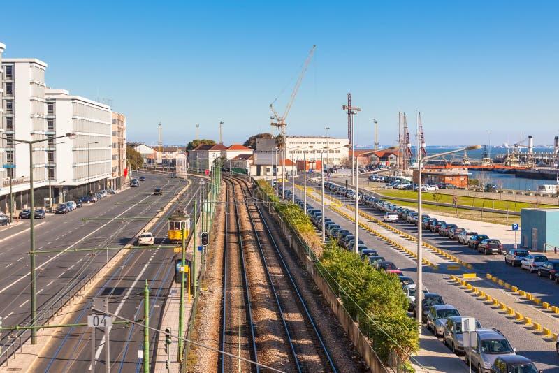 District van de Haven van Lissabon het Industriële royalty-vrije stock afbeeldingen