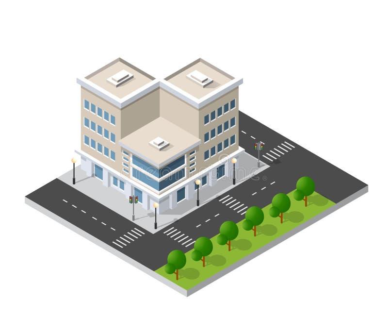 District van de huizen van de stadsstraat stock illustratie