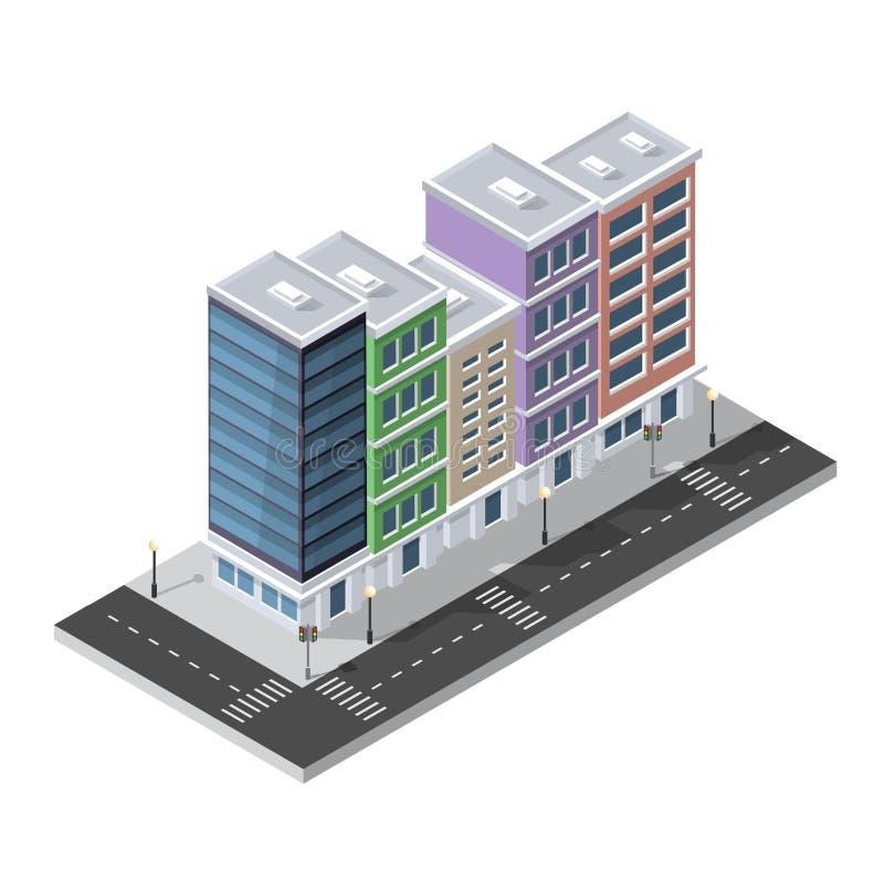 District van de huizen van de stadsstraat royalty-vrije illustratie