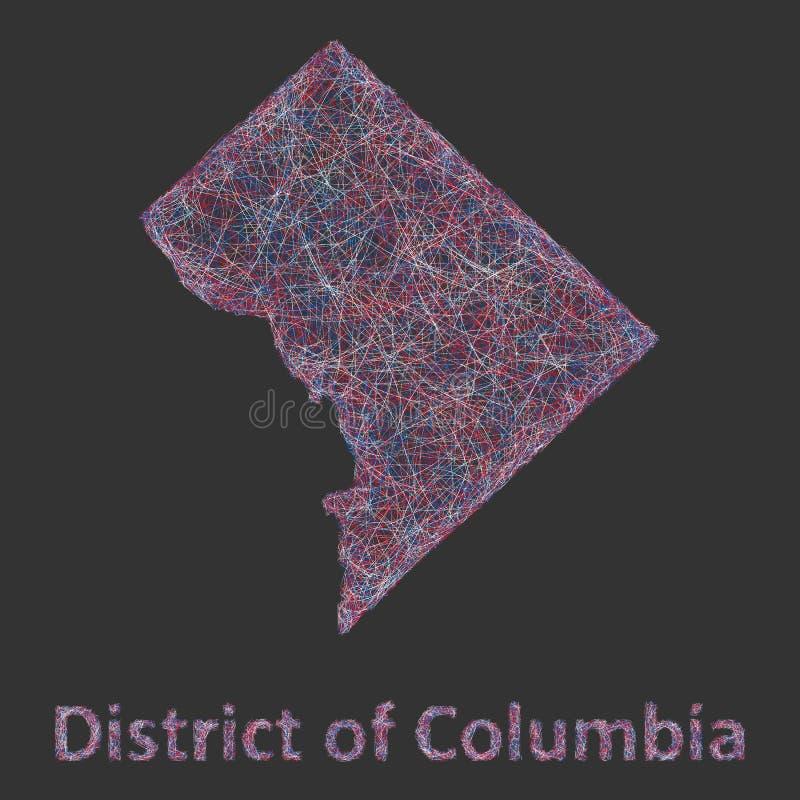 District van de kaart van de de lijnkunst van Colombia royalty-vrije illustratie