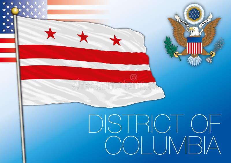 District van de vlag van de staat van Colombia, Verenigde Staten royalty-vrije illustratie