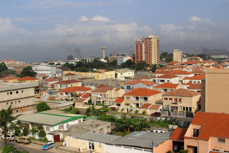 Districts of Pointe-Noire. Tiled roofs in the city of Pointe-Noire, Congo Republic, february 2015 royalty free stock photography