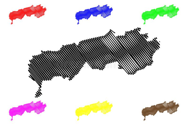 Districts of Republican Subordination Republic of Tajikistan, Regions of Tajikistan map vector illustration, scribble sketch. Republican Subordination map royalty free illustration