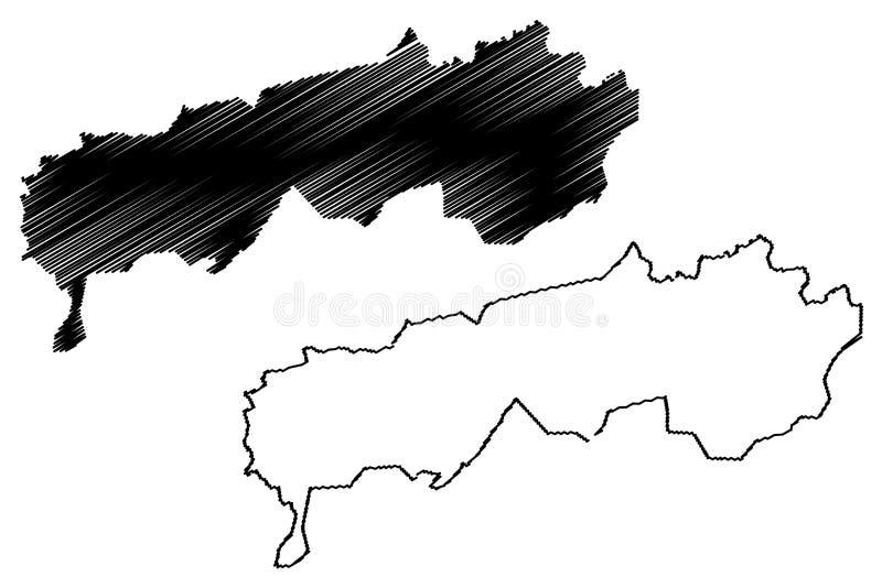 Districts of Republican Subordination Republic of Tajikistan, Regions of Tajikistan map vector illustration, scribble sketch. Republican Subordination map vector illustration