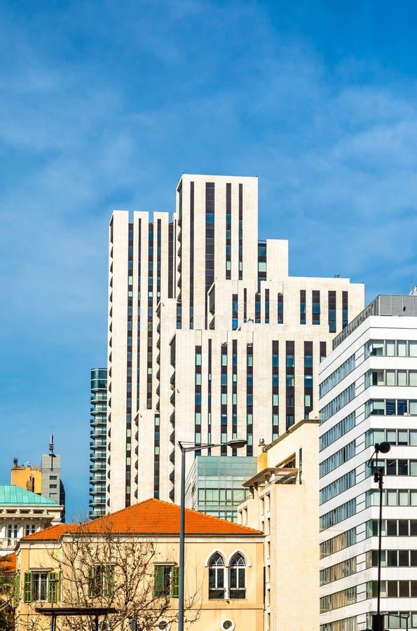 Distrito comercial central de Beirute com edifícios modernos, Líbano imagens de stock