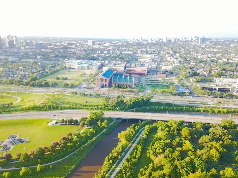 Distrito da divisão da vista aérea quarto a oeste de Houston do centro, Texas imagem de stock