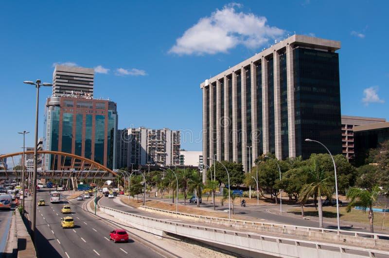 Distrito de Cidade Nova en Rio de Janeiro con el edificio de ayuntamiento foto de archivo libre de regalías