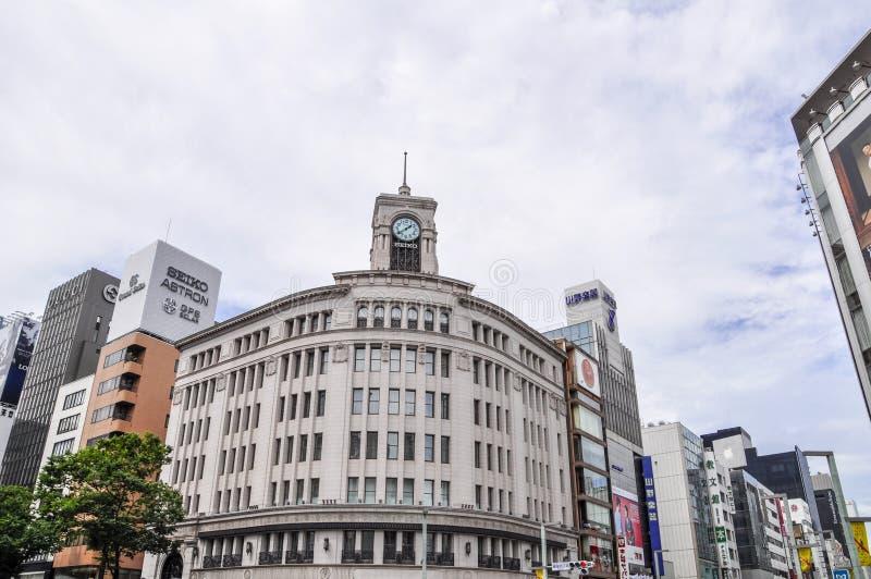 Distrito de Ginza no Tóquio, Japão fotos de stock