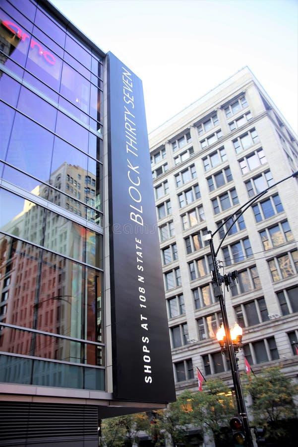 Distrito de las compras del bloque 37 de Chicago, Chicago Illinois fotografía de archivo libre de regalías