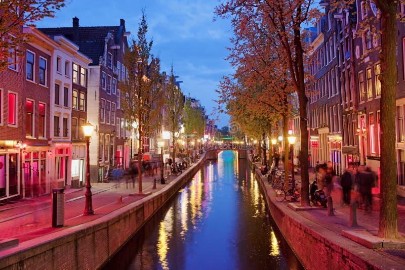 Distrito de luz vermelha em Amsterdão fotos de stock