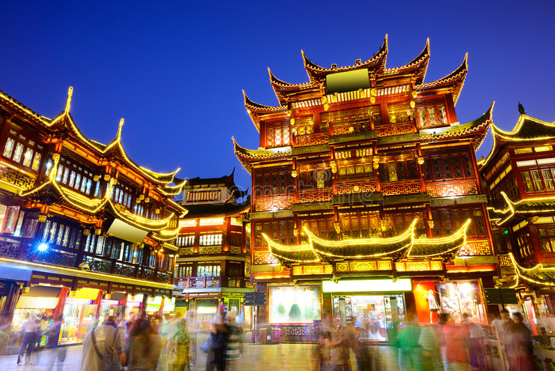 Distrito de Yuyuan de Shanghai China fotografia de stock royalty free