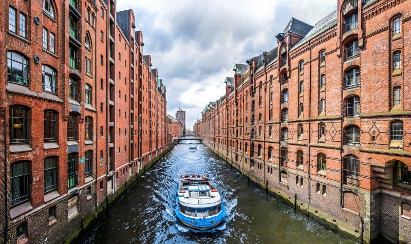 Distrito del almacén de Speicherstadt en Hamburgo, Alemania fotos de archivo libres de regalías