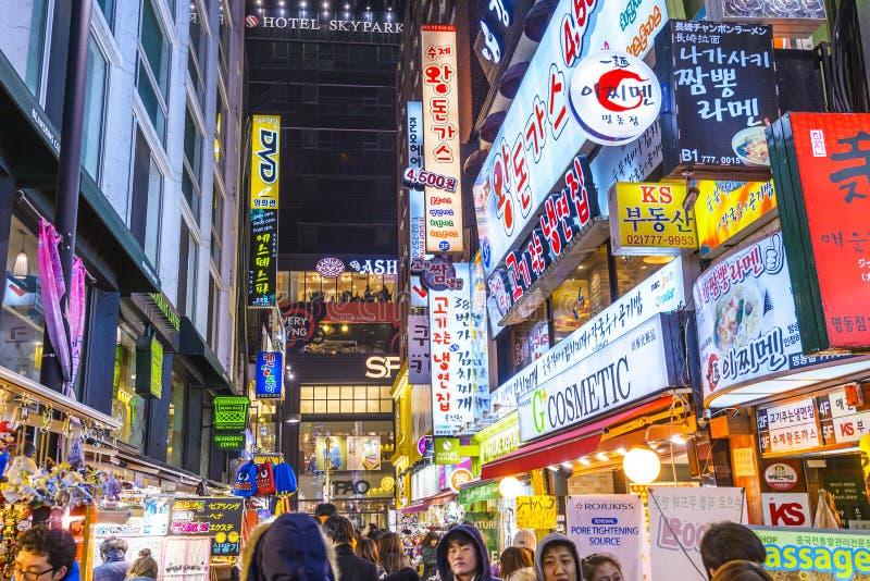 Distrito del entretenimiento de Seul, Corea imágenes de archivo libres de regalías