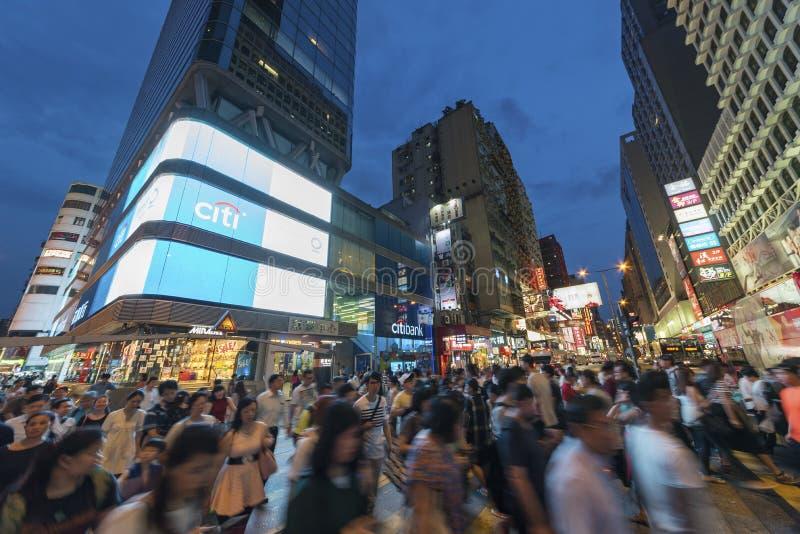 Distrito del Midtown en la ciudad de Hong Kong en la noche fotografía de archivo