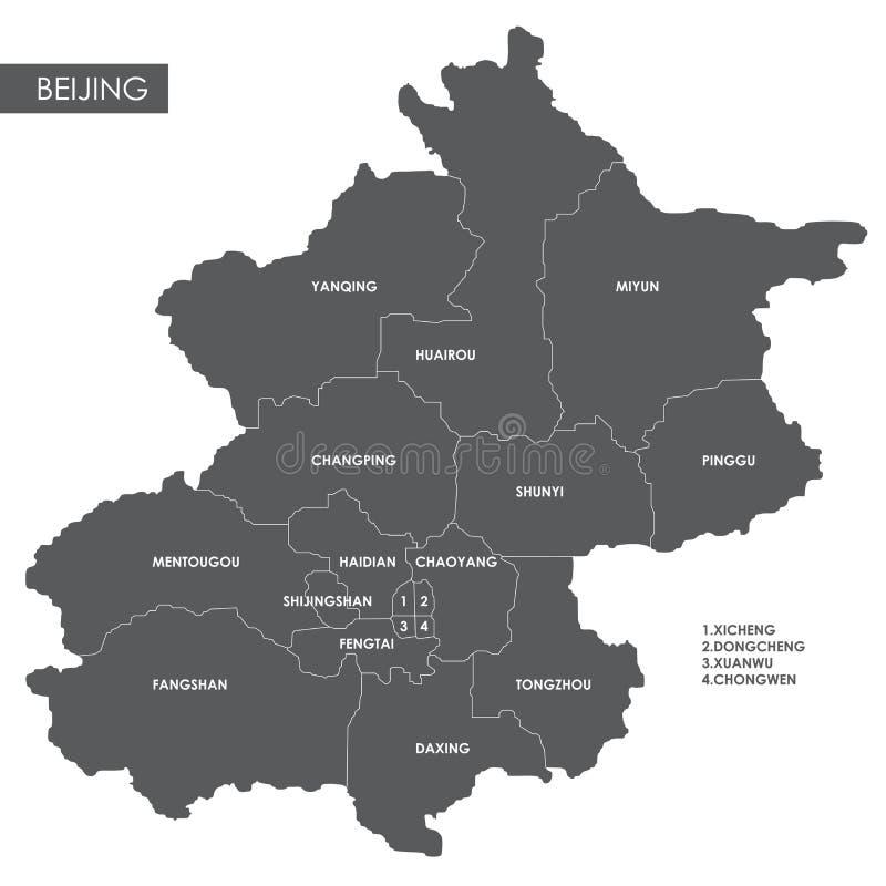 Distrito do Pequim do mapa do vetor ilustração stock