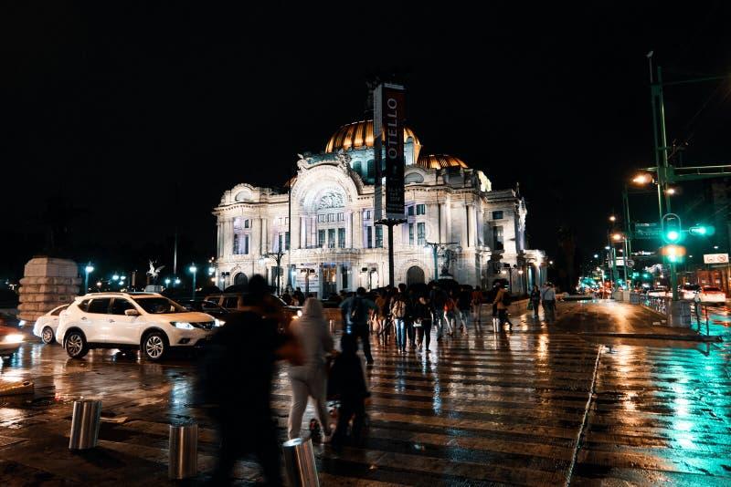 Pedestrian crossing of Palacio de Bellas Artes at night royalty free stock images