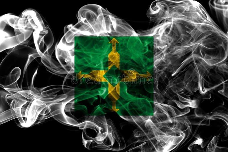 Distrito Federal smoke flag, Ciudad de Mexico.  stock photo