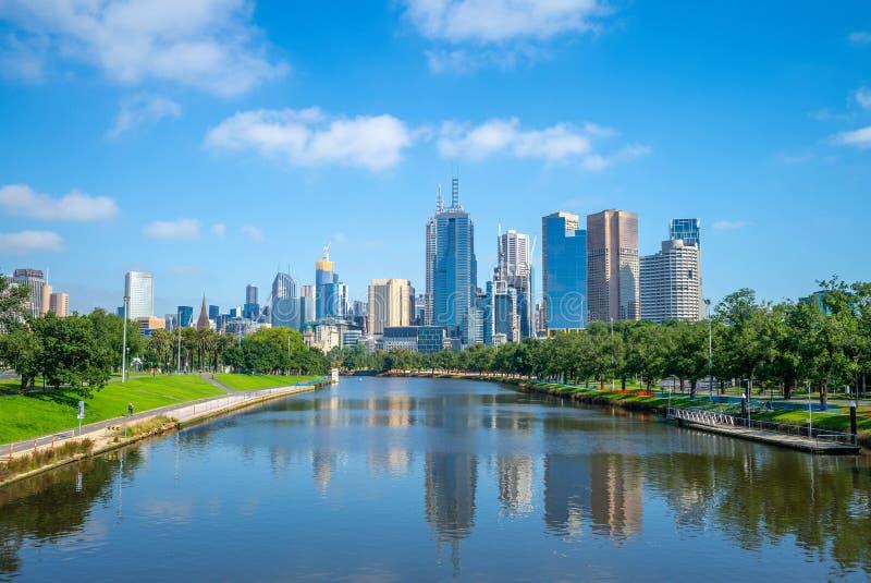 Distrito financeiro CBD da cidade de Melbourne, Austrália fotografia de stock