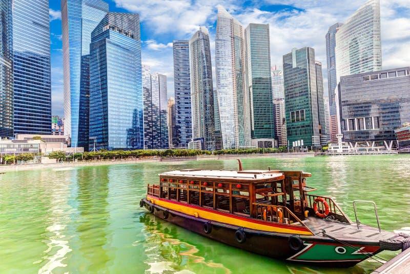 Distrito financeiro de Singapura em Marina Bay fotografia de stock royalty free